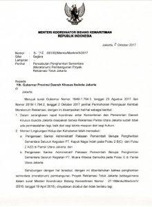 Surat pencabutan moratorium proyek reklamasi Teluk Jakarta ©2017 Merdeka.com/Syifa Hanifa