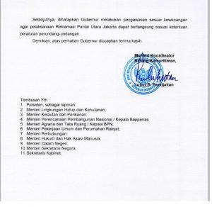 Surat pencabutan moratorium proyek reklamasi Teluk Jakarta ©2017 Merdeka.com/Syifa Hanifah