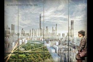 Gambaran CBD Park dalam konsep reklamasi Jakarta Jaya: The Green Manhattan.(SHAU Architects)