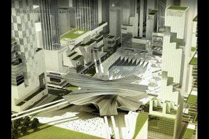 Hub transportasi publik dalam konsep reklamasi Jakarta Jaya: The Green Manhattan.(SHAU Architects)