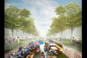 Gambaran transportasi air dalam konsep reklamasi Jakarta Jaya: The Green Manhattan.(SHAU Architects)