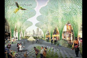 Gambaran lingkungan dan pusat belanja dalam konsep reklamasi Jakarta Jaya: The Green Manhattan.(SHAU Architects)
