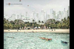 Pariwisata pantai berdampingan langsung dengan lanskap kota dalam konsep reklamasi Jakarta Jaya: The Green Manhattan.(SHAU Architects)