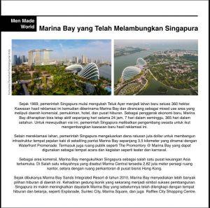 """Pengembangan """"Marina Bay"""" hasil reklamasi Teluk Ayer di Singapura menjadi salah satu kawasan destinasi wisata dan bisnis di negara tersebut yang banyak diminati investor dan menjadi pertumbuhan ekonomi baru bagi kemajuan Singapurna untuk mensejahterakan masyarakatnya."""