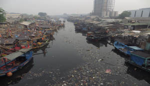 Pencemaran di Teluk Jakarta. (Foto: Trubus.id / Binsar Marulitua )