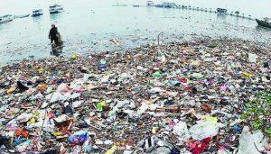 Tumpukan sampah di pesisir pantai. Sampah di laut membahayakan bagi biota laut dan juga manusia bila masuk ke rantai makanan. (kkp.go.id)